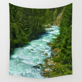 Here Be Bears - Black Bear and Wilderness River Wall Tapestry
