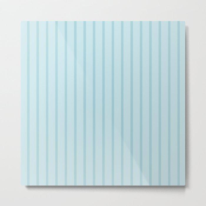 Baby Blue Monochrome Vertical Stripes Pattern Metal Print