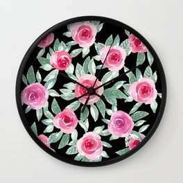 Soft Pink Roses in black_ Beautiful watercolor Bouquet  Wall Clock