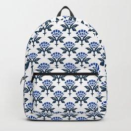 Ajrak Woodblock Floral Print in Blue Backpack
