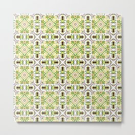Tropical Botanical Tile , Geometric Bright Lime and Yellow Fruits and Florals Metal Print