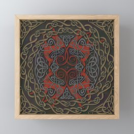 Celtic Knotwork Greyhounds - Red & Taupe Framed Mini Art Print