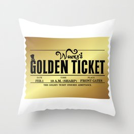 Wonka's Golden Ticket Throw Pillow