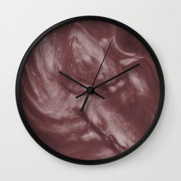 Pantone Red Pear Flowing Pearlescent Haze, Opalescent Fluid Art Wall Clock