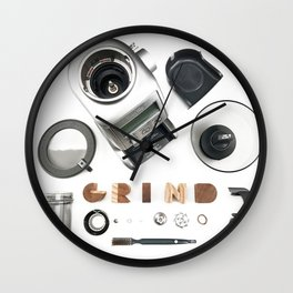 Grind // Exploded View Espresso Coffee Grinder Wood Block Typography Lettering Photograph Wall Clock