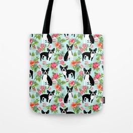 Boston Terrier florals tropical hawaiian print dog breeds custom dog art pet portraits Tote Bag