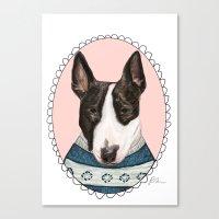 bull terrier Canvas Prints featuring Bull Terrier by Rhian Davie