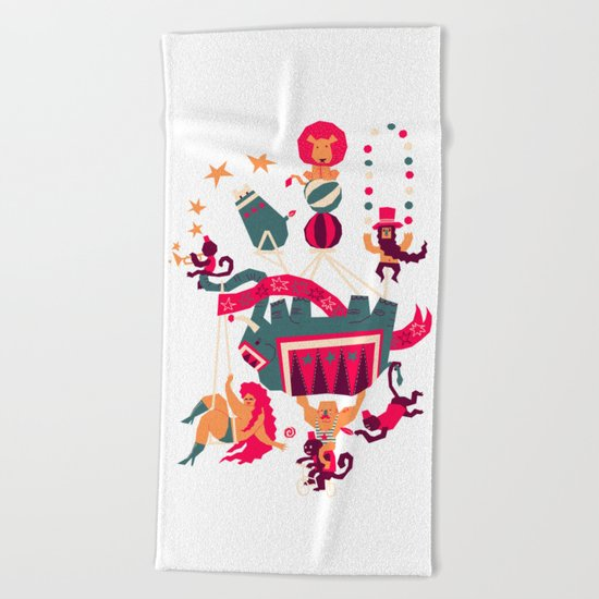 Circus is coming Beach Towel