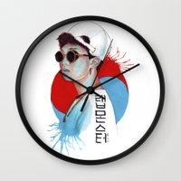 korea Wall Clocks featuring South Korea by Tunyon
