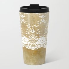 The elegant lady- White luxury foral lace on grunge backround Metal Travel Mug