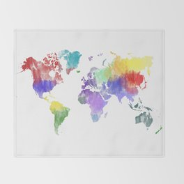 Colorful Map Throw Blankets Society - Colorful world map painting