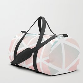 Modern geometric triangles blush pink Duffle Bag
