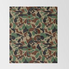 Dachshund  Camouflage Throw Blanket