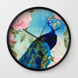 Peacock & Pink Roses  Wall Clock