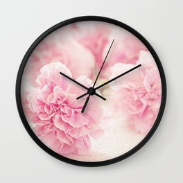 Pretty Pink Carnation Flowers Photograph Wall Clock