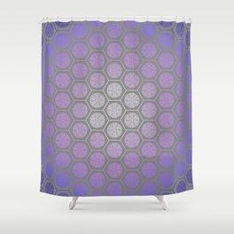 Hexagonal Dreams - Purple Blue Gradient Shower Curtain