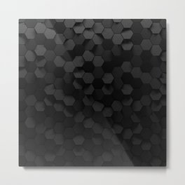 Black abstract hexagon pattern Metal Print