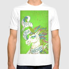 You is for Unicorn MEDIUM White Mens Fitted Tee