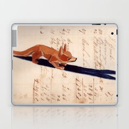Vintage Wood Carved Fox in Gouache Laptop & iPad Skin