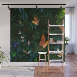 Elegant, Colorful Fantasy Butterflies in Flight Wall Mural
