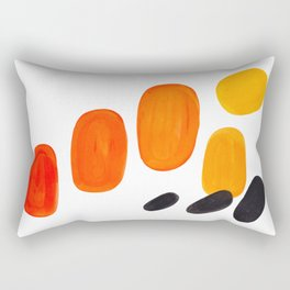 Mid Century Modern Colorful Minimal Pop Art Yellow Orange Ombre Rainbow Gradient Pebble Ovals Rectangular Pillow
