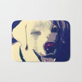 labrador retriever dog winking vector art foggy night Bath Mat