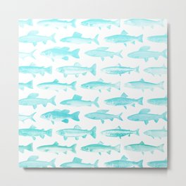 Fishes - Simple pattern in aqua on clear white Metal Print