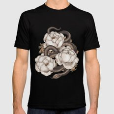 Snake and Peonies Black SMALL Mens Fitted Tee