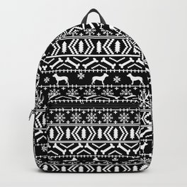 Pitbull fair isle christmas holidays black and white dog breed silhouette pattern Backpack