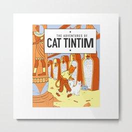 Belgian Comics Cat Tintim Metal Print