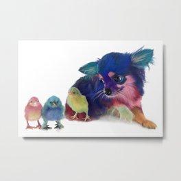 Chihuahua and Chicks Metal Print