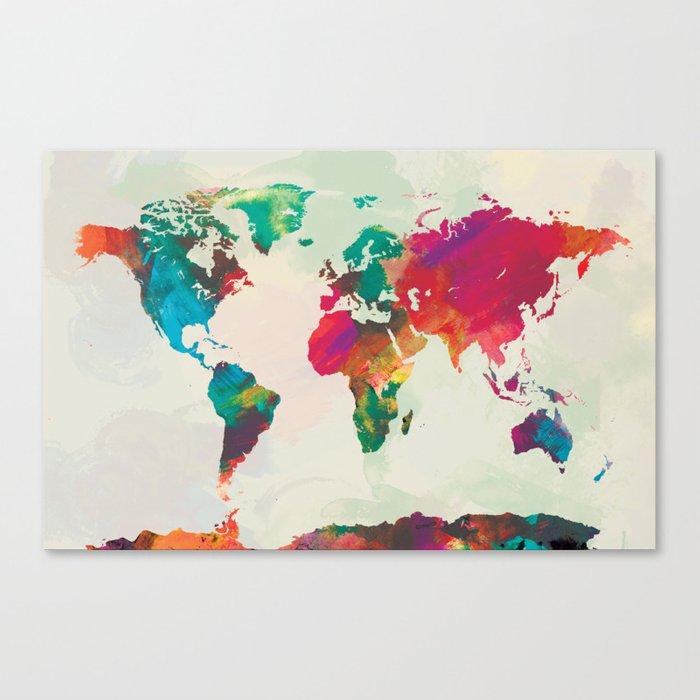 Watercolor World Map Canvas Print By Champagne Society6