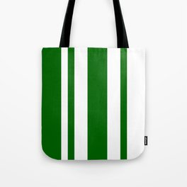 Mixed Vertical Stripes - White and Dark Green Tote Bag