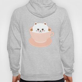 Cute Kawai cat in pink cup Hoody