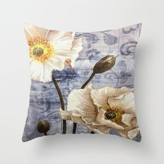 Enchanting White Flowers Throw Pillow