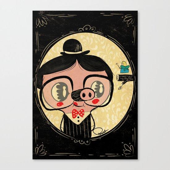 PIGnocchio and the blue fairy / pinocchio pig Canvas Print