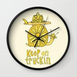 keep on truckin surfy snail // retro surf art by surfy birdy Wall Clock