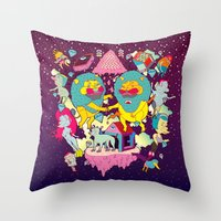 yetiland Throw Pillows featuring celebración by ALVAREZ