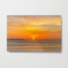 Sunset Coast with Orange Sun and Birds Metal Print