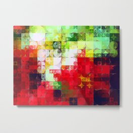 Mixed Color Poinsettias 2 Abstract Circles 2 Metal Print