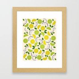 Lime Lemon Coconut Mint pattern Framed Art Print