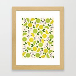 Lime Lemon Coconut Mint pattern Framed Art Print