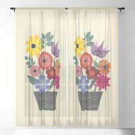 Spring flowers in vase Sheer Curtain
