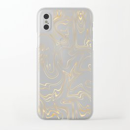 Liquid Gold Marble. Trendy golden ink marbling texture. Suminagashi art. Clear iPhone Case Clear iPhone Case