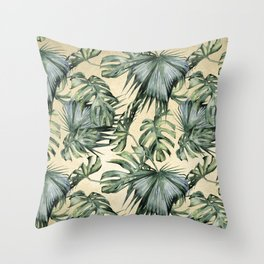 Palm Leaves Classic Linen Throw Pillow