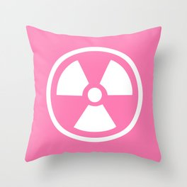 Pink Radioactive Symbol Throw Pillow