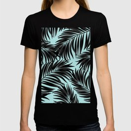 Palm Tree Fronds Black on Cyan Hawaii Tropical T-shirt