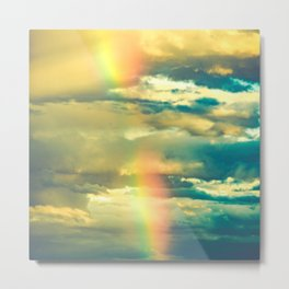 Rainbow Blue Sky Clouds Metal Print