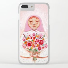 Matryoshka with flowers Clear iPhone Case