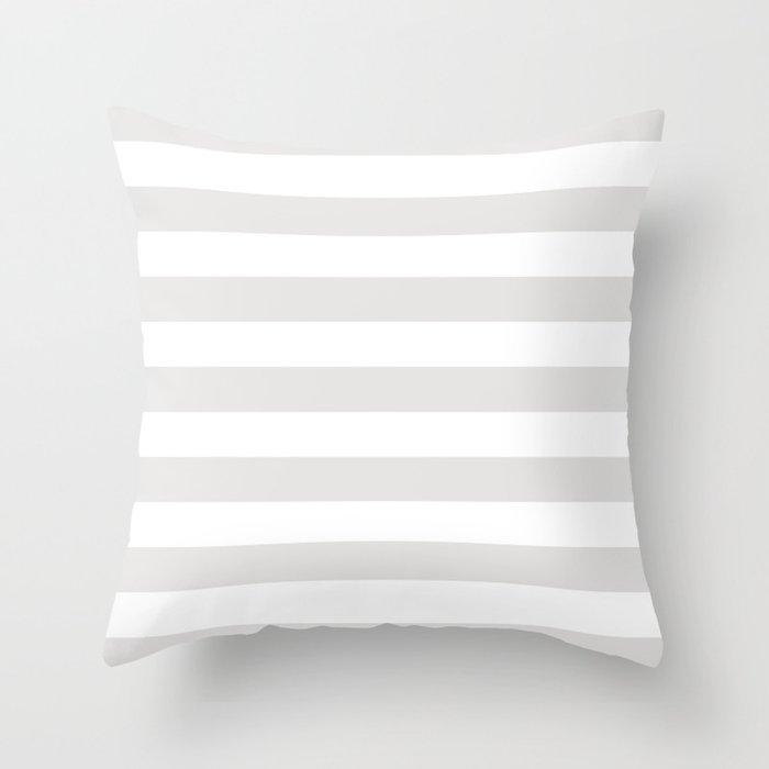 Horizontal Stripes (Platinum/White) Throw Pillow